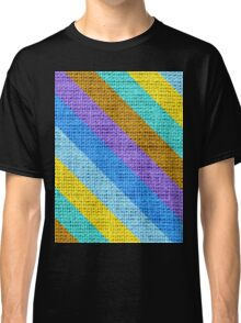 Colorful Stripes Burlap Linen Rustic Jute Classic T-Shirt