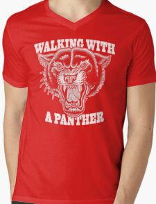 Walking with a panther tattoo design Mens V-Neck T-Shirt