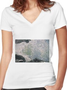 Wave Breaking On Rocks Women's Fitted V-Neck T-Shirt