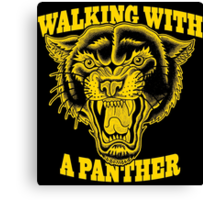 Walking with a panther tattoo design Canvas Print