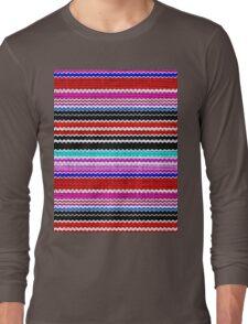 Colorful Chevron Stripes Burlap Linen Rustic Jute Long Sleeve T-Shirt