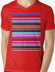 Colorful Chevron Stripes Burlap Linen Rustic Jute Mens V-Neck T-Shirt