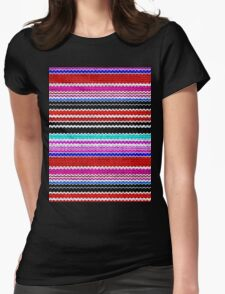 Colorful Chevron Stripes Burlap Linen Rustic Jute Womens Fitted T-Shirt