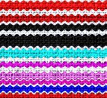 Colorful Chevron Stripes Burlap Linen Rustic Jute Sticker