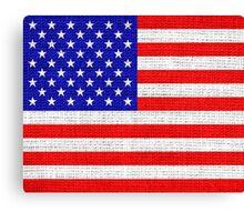 American Flag on Burlap Linen Rustic Jute Canvas Print