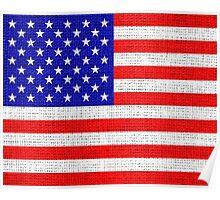 American Flag on Burlap Linen Rustic Jute Poster