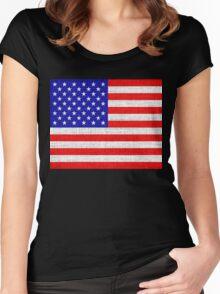 American Flag on Burlap Linen Rustic Jute Women's Fitted Scoop T-Shirt