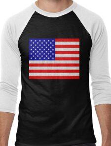 American Flag on Burlap Linen Rustic Jute Men's Baseball ¾ T-Shirt