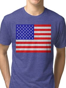 American Flag on Burlap Linen Rustic Jute Tri-blend T-Shirt