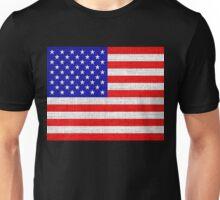 American Flag on Burlap Linen Rustic Jute Unisex T-Shirt