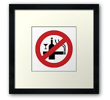 NO Smoking Alcohol Sign Framed Print