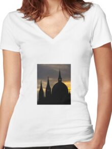 Silhouette of a European Cathedral Spires Women's Fitted V-Neck T-Shirt