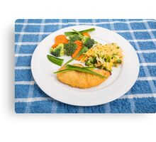 Colorful Meal of Chicken Rice and Vegetables Canvas Print