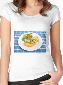 Colorful Meal of Chicken Rice and Vegetables Women's Fitted Scoop T-Shirt