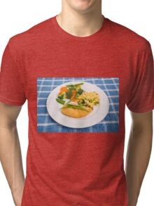 Colorful Meal of Chicken Rice and Vegetables Tri-blend T-Shirt
