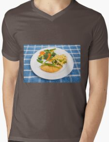 Colorful Meal of Chicken Rice and Vegetables Mens V-Neck T-Shirt