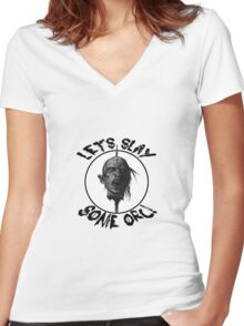 Let's Slay Some Orc Women's Fitted V-Neck T-Shirt