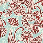 Oriental Iranian Paisley, Swirls - Red Blue  by sitnica