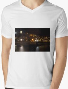 Whitby East Cliff By Night Mens V-Neck T-Shirt
