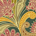Oriental Iranian Paisley - Green Yellow Red by sitnica