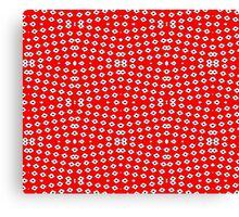 Red Background, White Diamond and Black Spots 2 Canvas Print