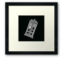 Black and white TARDIS (tilted) Framed Print