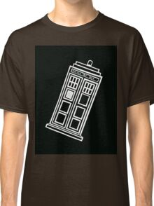 Black and white TARDIS (tilted) Classic T-Shirt