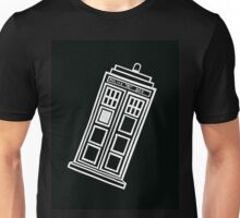Black and white TARDIS (tilted) Unisex T-Shirt