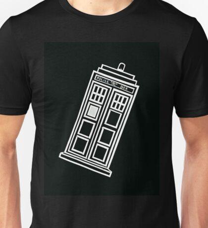 Black and white TARDIS (tilted) Unisex T-Shirt