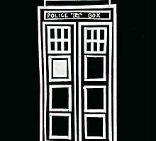 Black and white TARDIS by lotifer