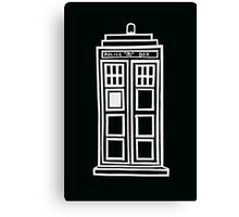Black and white TARDIS Canvas Print