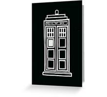 Black and white TARDIS Greeting Card