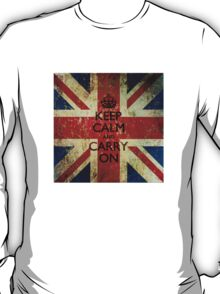 Square Grunge Keep Calm and Carry On Union Jack T-Shirt