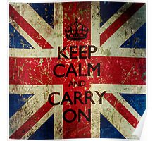Square Grunge Keep Calm and Carry On Union Jack Poster