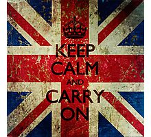 Square Grunge Keep Calm and Carry On Union Jack Photographic Print