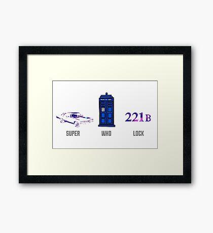 Superwholock design (impala, TARDIS, 221B) Framed Print