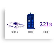 Superwholock design (impala, TARDIS, 221B) Canvas Print