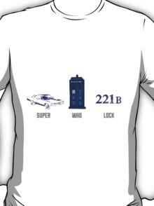 Superwholock design (impala, TARDIS, 221B) T-Shirt