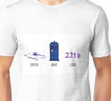 Superwholock design (impala, TARDIS, 221B) Unisex T-Shirt