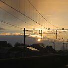 Sunrise at Train Station Wolvega by ienemien