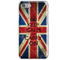 Grunge Keep Calm and Carry On Union Jack iPhone Case/Skin