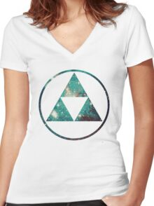 Galaxy - Triforce Women's Fitted V-Neck T-Shirt