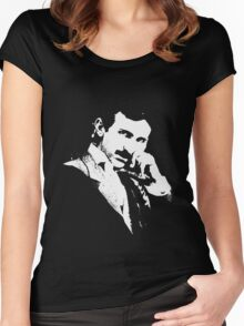 Nikola Tesla Portrait Women's Fitted Scoop T-Shirt