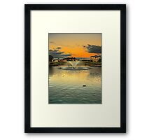 The suburban fountain at sunset Framed Print