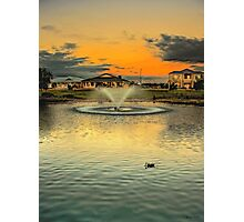 The suburban fountain at sunset Photographic Print