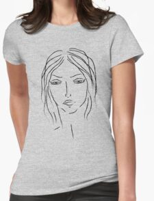 girl sketch Womens Fitted T-Shirt