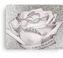White Rose With Quote Tucked In Petals Canvas Print