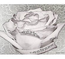 White Rose With Quote Tucked In Petals Photographic Print
