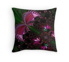 Fractal Red Butterfly Throw Pillow