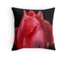 A Shiny Red Tulip Throw Pillow
